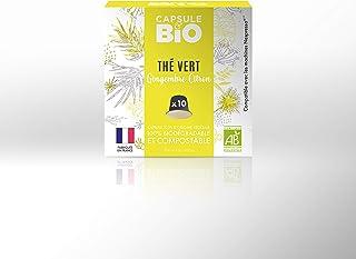 Capsule & Bio Grüner Tee mit Ingwer und Zitrone – 10 aluminiumfreie & kompostierbare Teekapseln, Nespresso kompatibel