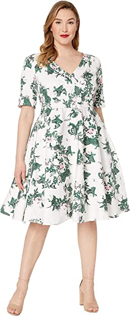 Plus Size 1950s Briar Rose Print Delores Swing Dress with Sleeves