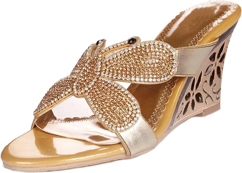 Garyline Crystal Embellished Sandal Butterfly Wedge Sandal Slip On Dress Sandal