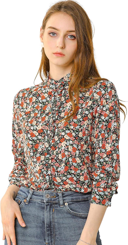 Allegra K Women's Mock Neck Button Up Ruffle Soft Long Sleeve Shirt Floral Blouse