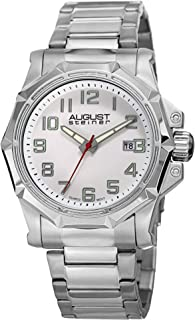 August Steiner Men's AS8184 Silver Quartz Watch with Black Dial and Silver Bracelet