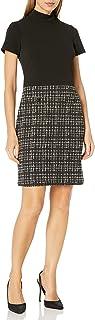 Karl Lagerfeld Paris Women's Mock Neck Sheath Dress with Houndstooth Skirt