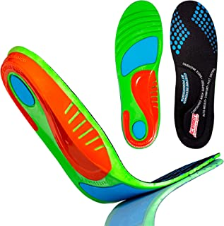 Icemen Shoe Inserts for Men and Women - Plantar Fasciitis and Arch Support Insoles - Cushioned Sole Orthotics for Flat Feet (Medium) 9-10.5 Men/10.5-11.5 Women
