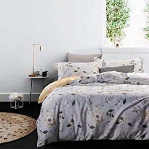UFO Home 3pc Duvet Cover Set, 100% Cotton, Environmental Printing Beautiful Floral, No Inside Filler or Comforter, Machine Washable (Queen, Eli)