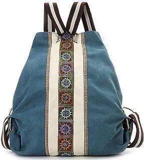 Vintage Women Embroidery Backpack,Canvas Casual Daypack School Backpack Travel Handbag Shoulder Bag HWUDOA