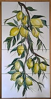 Pannello decorativo cm. 80 x 40 - Linea Limoni - Dipinto a mano - Pezzo Unico - Le Ceramiche del Castello