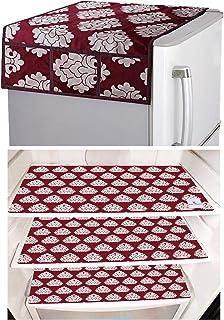 Kuber Industries Flower Design 3 Pieces PVC Fridge Mats and 1 Piece Fridge Top Cover (Maroon) CTKTC33654