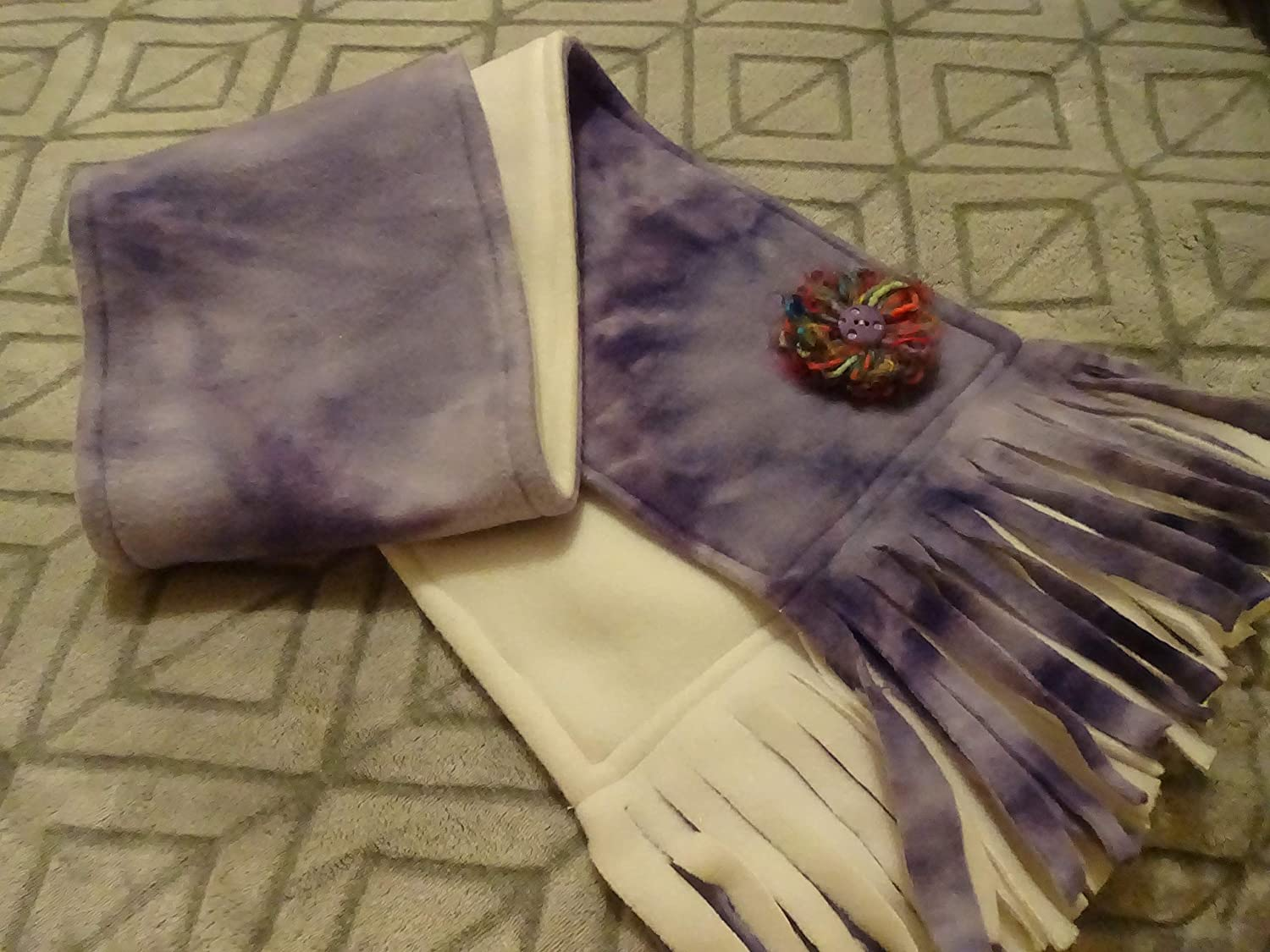 PURPLE Now on sale TIE DYE low-pricing with a WHITE Sided Handmade Double w Fleece Scarf