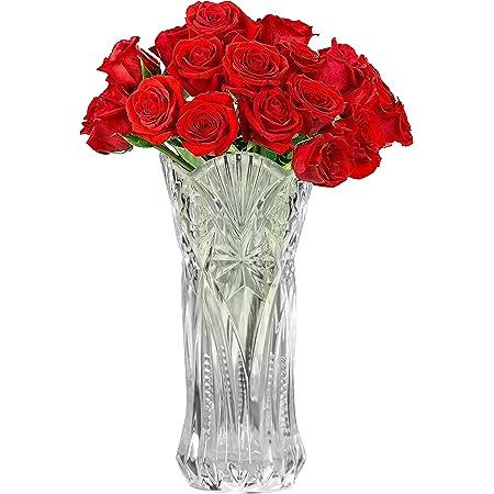 Kurtzy Vase Transparent en Cristal Clair - 29 cm - Vase en Verre Melodia Cylindrique Décoratif et Moderne pour Fleurs - Vase Verre pour Centre de Table et Décoration de Bureau