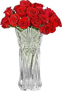 Kurtzy Vase Transparent en Cristal Clair - 29 cm - Vase en Verre Melodia Cylindrique Décoratif et Moderne pour Fleurs - Va...
