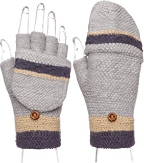 Women Winter Fingerless Holiday Mitten Knitted Gloves Foldable Flap