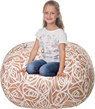 5 STARS UNITED Stuffed Animal Storage Bean Bag - Cover Only - Large Beanbag Chairs for Kids - 90+ Plush Toys Holder and Or...