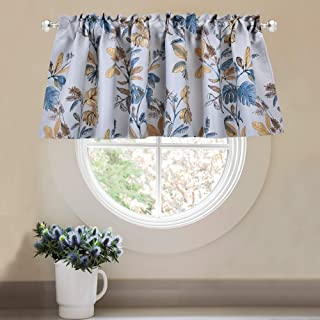 KEQIAOSUOCAI Fall Gold Leaf Valances for Windows - Pastoral Style Curtain Blackout Rod Pocket Window Valance for Bathroom(52 W by 18 L,1 Panel)