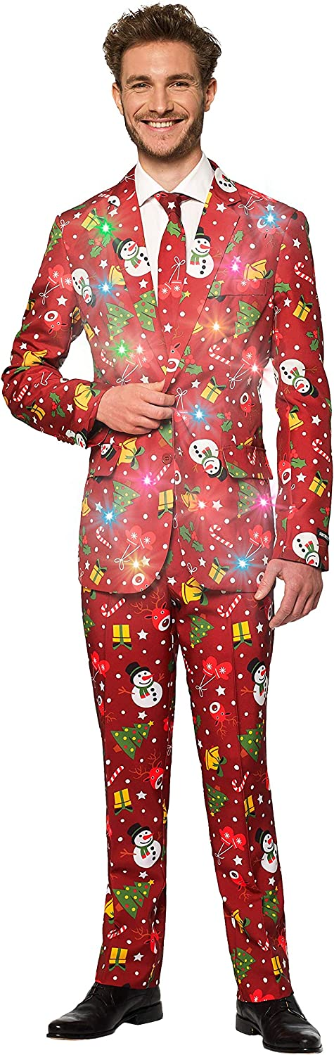 SUITMEISTER Light-Up Christmas Suits for Men in Different Prints – Ugly Xmas Sweater Costumes Include Jacket Pants & Tie