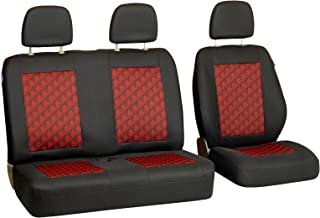 Zakschneider Fundas De Asiento para Ford Transit -2000 - Conjunto De Fundas 1+2 - Color Premium Negro con Efecto 3D Rojo