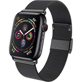 GBPOOT Band Compatible with Watch Band 38mm 40mm 42mm 44mm, Wristband Loop Replacement Band for Iwatch Series 6/SE/5/4/3/2/1,Black,42mm/44mm
