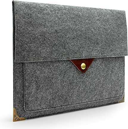 """Lavievert Gray Felt Case Bag Sleeve with Authentic Triangle Leather Flap and Copper Metal Corner for Apple 15"""" MacBook Pro and 15"""" MacBook Pro with Retina and Most Popular 15-15.6 Inch Laptops"""