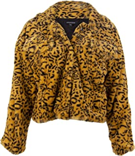 Glam and Gloria Womens Yellow Cheetah Leopard Animal Print Faux Fur Jacket Short Coat