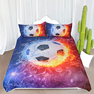 ARIGHTEX Fire and Ice Black and White Soccer Ball Bedding Set Football with Flames Duvet Cover Teen Boy Sports Bedding (Twin)