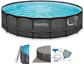 Summer Waves Elite Wicker 18ft x 48in Round Above Ground Frame Pool Set & Pump