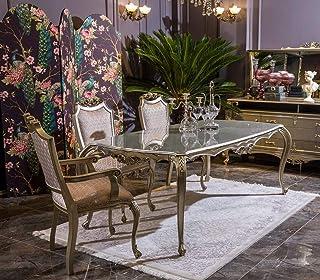 Casa Padrino Conjunto de Comedor Barroco de Lujo Rosa/Plata - 1 Mesa de Comedor y 6 Sillas de Comedor - Muebles de Comedor en Estilo Barroco - Noble y Magnífica