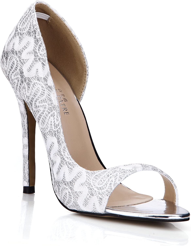DolphinGirl Women Open Toe Glitter Dress Pump Heeled Sandal Prom Wedding Party Stiletto SM00222