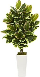 Nearly Natural Artificial Variegated Rubber Leaf Plant in White Tower Vase, Green