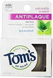 Tom's of Maine Natural Antiplaque Flat Floss, Waxed, Spearmint, 32 yards
