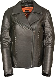 Milwaukee Leather Women's Classic M/C Jacket with Rivet Detailing (Black, X-Large)