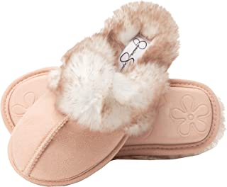 Jessica Simpson Girls Comfy Slippers - Cute Faux Fur Slip-On Shoes Memory Foam House Slipper