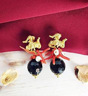 Orecchini siciliani con Onice nera Sfaccettata