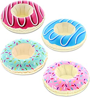 CoTa Global Pool Party – Funny Delectable Frosted Donut Inspired Inflatable Ring Drink Holder - Set