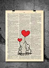 Elephant Love Heart Print Duo Vintage Print - Dictionary Art Print - Vintage Dictionary Print 8x10 inch Home Vintage Art Wall Art for Home Wall For Living Room Bedroom Office Ready-to-Frame