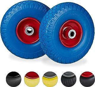 Relaxdays 2 x steekwagenwiel, lekbestendige massief rubberen banden, 3,00-4 inch stalen velg, 20 mm as, 100 kg, 260 x 85 m...