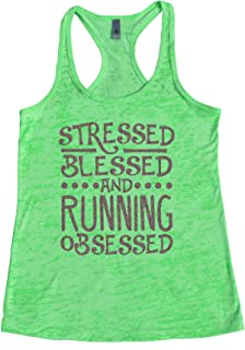 "Cute Love to Run Blessed Tanks Stressed Blessed and Running Obsessed "" Royaltee Shirts"