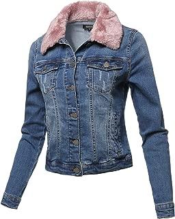 Casual Fur Collar Stretchable Retro Denim Jacket Blush Size S