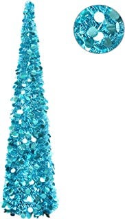 YuQi 5 Ft Pop up Artificial Trees Collapsible with Stand 70% Reusable for Christmas,Party,Next New Year,Wedding, Seasonal Home Décor & Party(Blue)