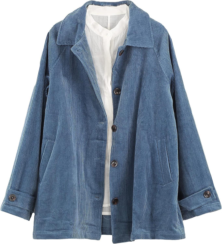 Minibee Women's Corduroy Jackets Long Sleeve Coats Button Down Outwear Tops with Pockets