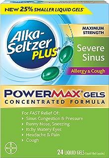 Alka-Seltzer Plus Maximum Strength powermax Liquid Gels, Severe Sinus, Allergy & Cough, 24Count