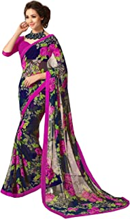 Jaanvi fashion Blue Printed Chiffon SareeWith Unstitched Blouse