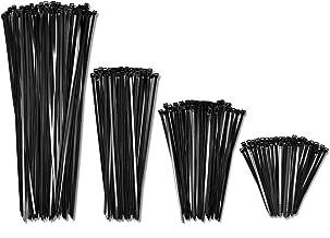 "4"", 6"", 8"", 12"" Inch Cable Zip Ties Black Heavy Duty (400 Pack, 100 each size) - 40lbs Tensile Strength - Self-Locking Pre..."