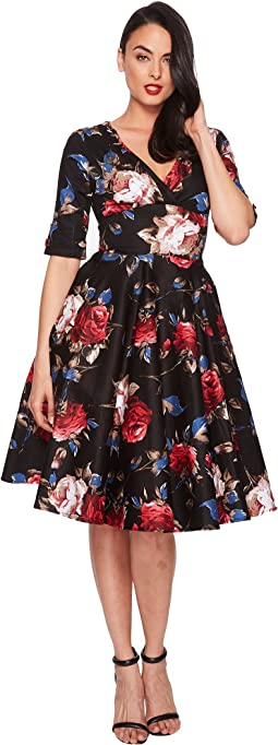 Unique Vintage - Delores Swing Dress with Sleeves