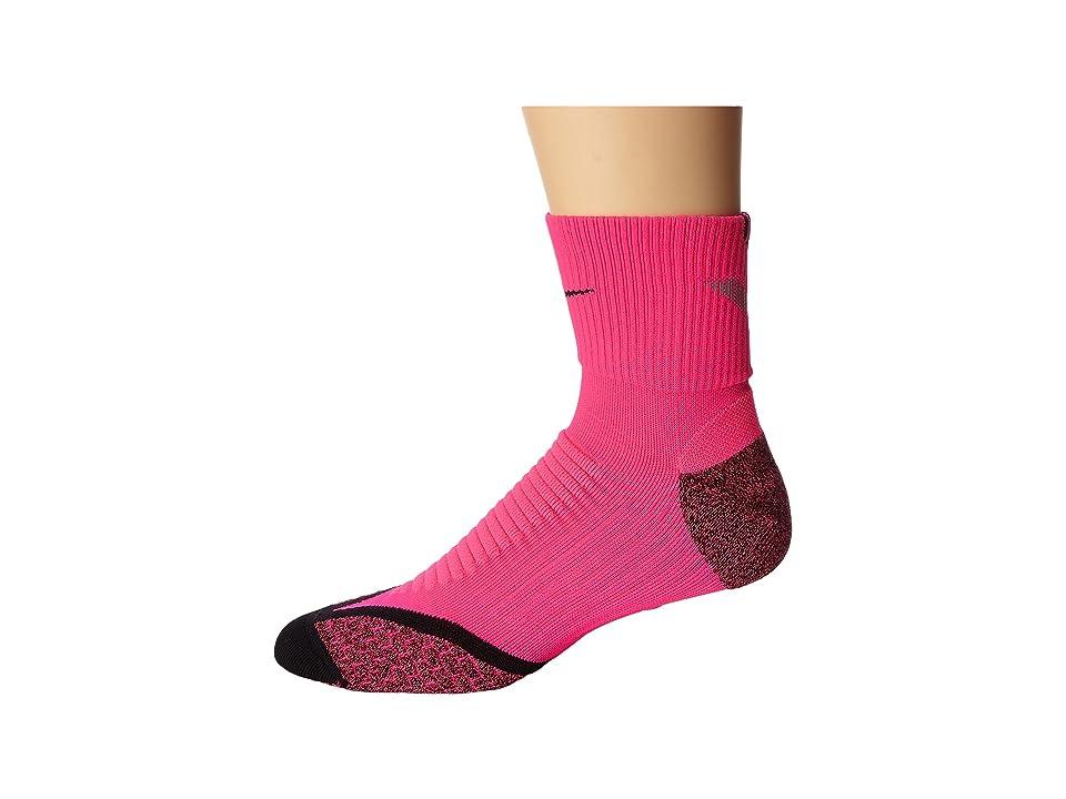 Nike Elite Running Cushion Quarter (Hyper Pink/Black/Black) Quarter Length Socks Shoes