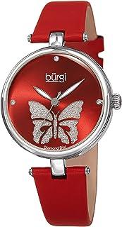 Burgi Designer Women's Watch BUR233 – Pretty Butterfly Glitter Dial, Satin Over Genuine Leather Strap, 3 Diamond Markers, Polished Bezel