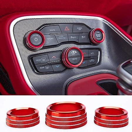 Voodonala for Dodge RAM Aluminum Center Console AC Radio Switch Knob Cover for 2018-2020 RAM 5pcs Silver