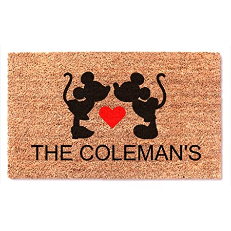 Hand Painted PERSONALIZED Kissing Minnie /& Mickey Door Mat