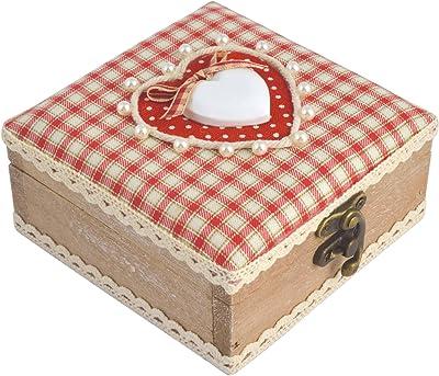 H&H Corazón Rojo Caja Cuadrada de Madera, Madera, Rojo, 14x 8x 14cm