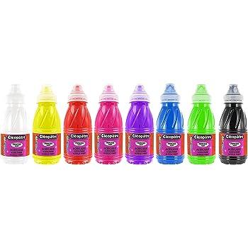 Cleopatre - PP250x5A - Pack de 5 frascos de pintura al agua con purpurinas, 250 ml, colores primarios: Amazon.es: Oficina y papelería