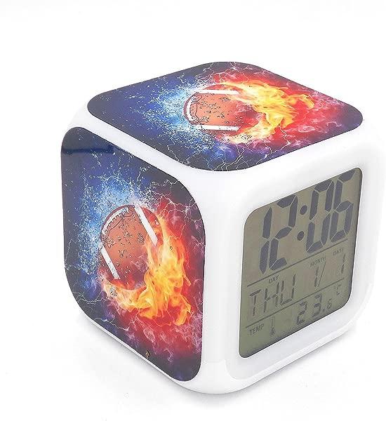 Boyan Led Alarm Clock American Football Ice Fire Creative Desk Table Clock Glowing Led Electronic Digital Alarm Clock Kids Toy Gift