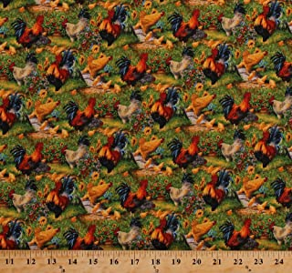 Cotton Chickens Roosters Chicks Poultry Hens Farmyard Fowl Barnyard Farming Country Birds Animals Flowers Old Farmstead Cotton Fabric Print by The Yard (8695-033-ORANGE)